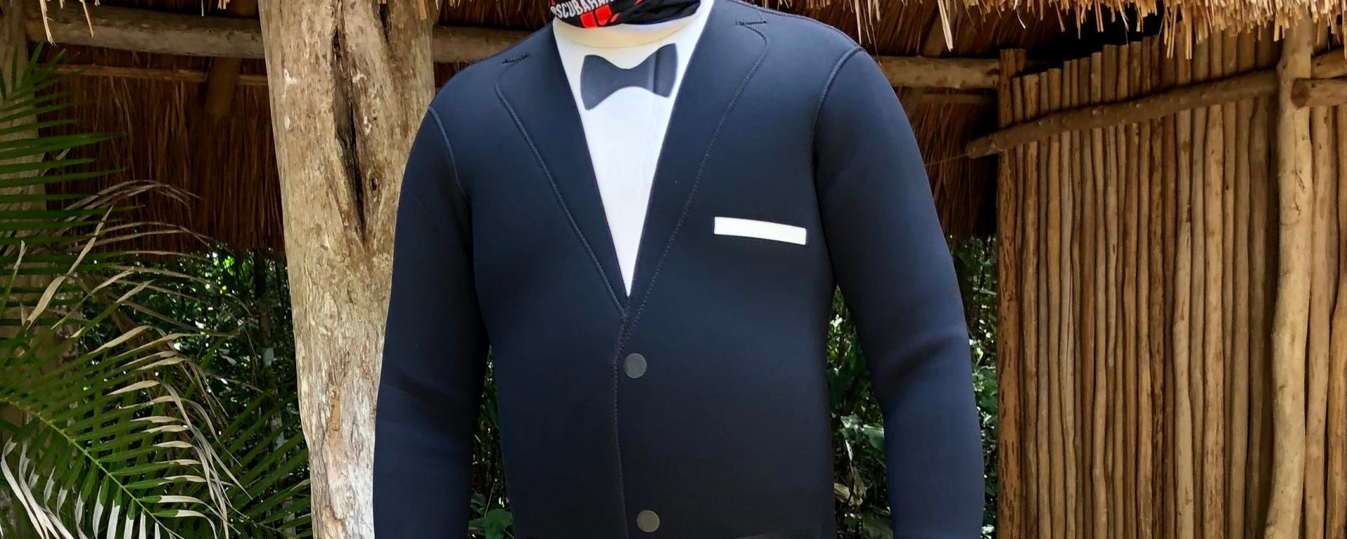 Diver in tuxedo wetsuit
