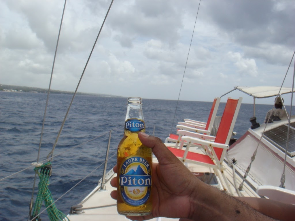 Piton larger beer on boat