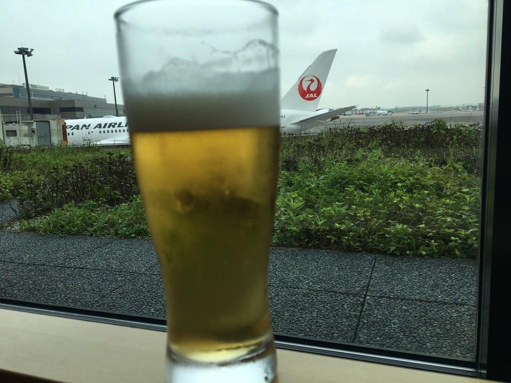 Glass of beer in Narita International Airport